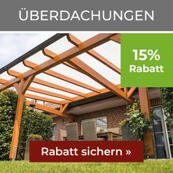 15% Rabatt auf Überdachungen